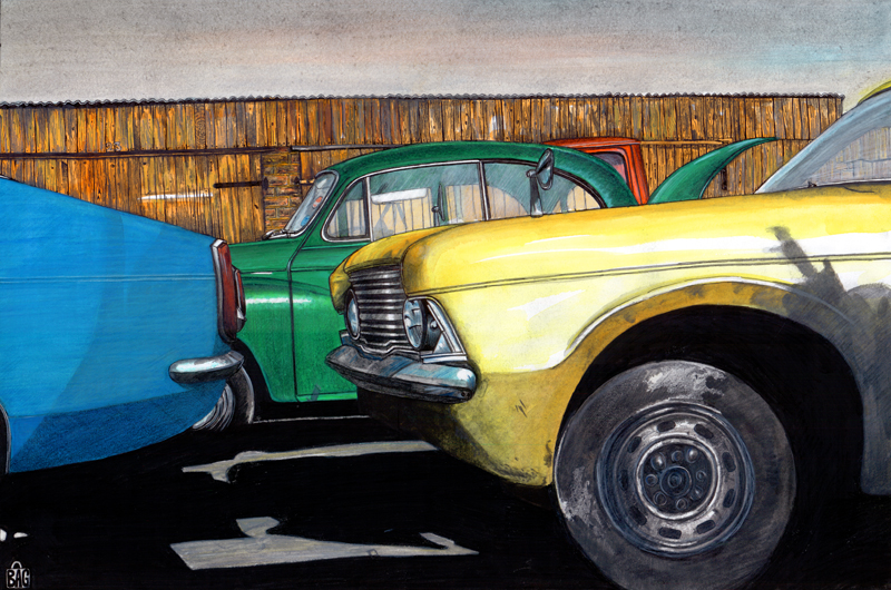 cars parked outside garage. Pencil and paint