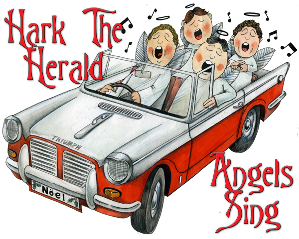 """Hark The Herald Angels Sing"", classic car themed greetings card"