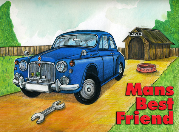 """Man's Best Friend"", classic car themed greetings card"