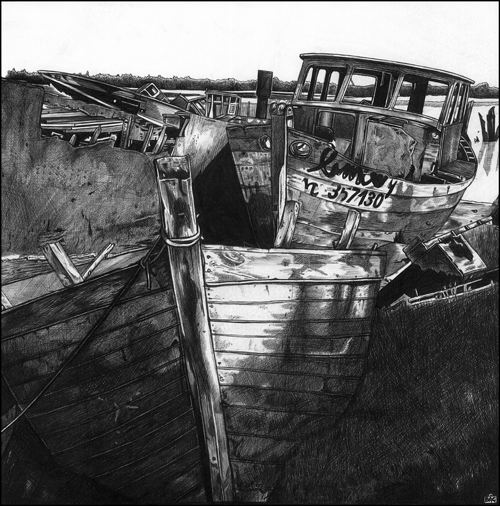 Abandoned boats in Noirmoutier, France. Pen and ink drawing