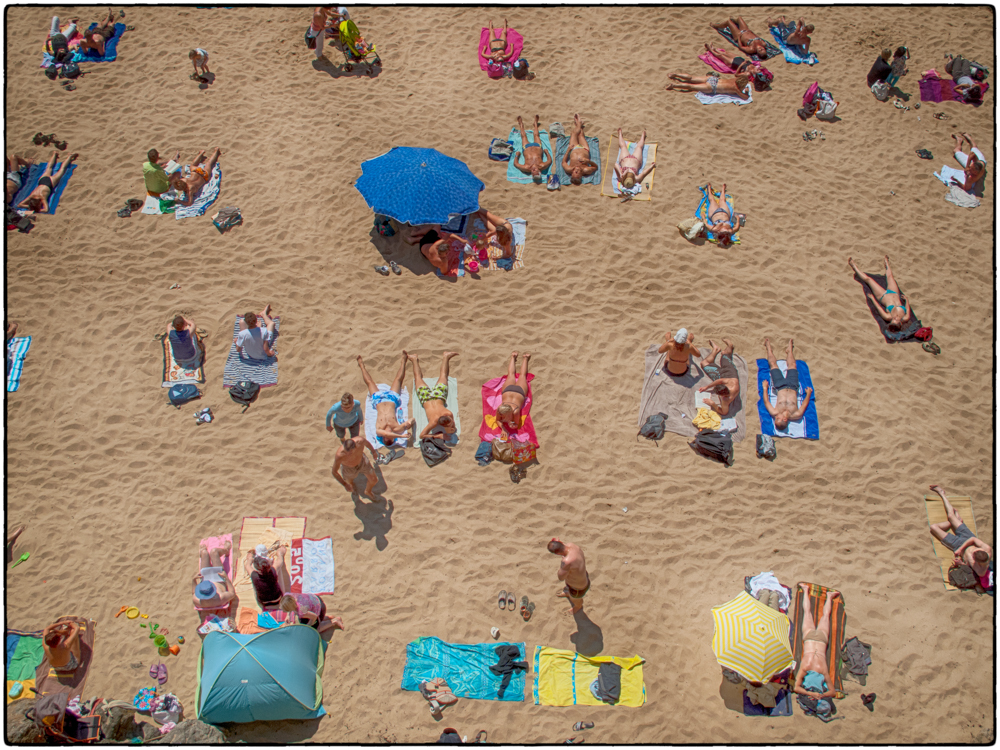 Sunbathers on a French beach